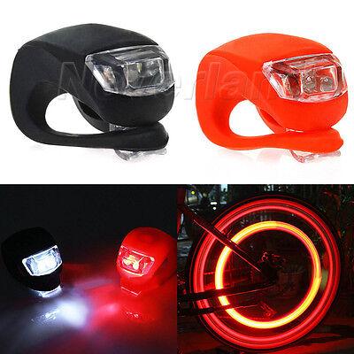 2x Silicone Mountain Bike Bicycle Front Rear Wheel LED Flash Light Lamp Push