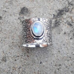 Rainbow-Moonstone-Solid-925-Sterling-Silver-Band-Ring-Meditation-Ring-rp013