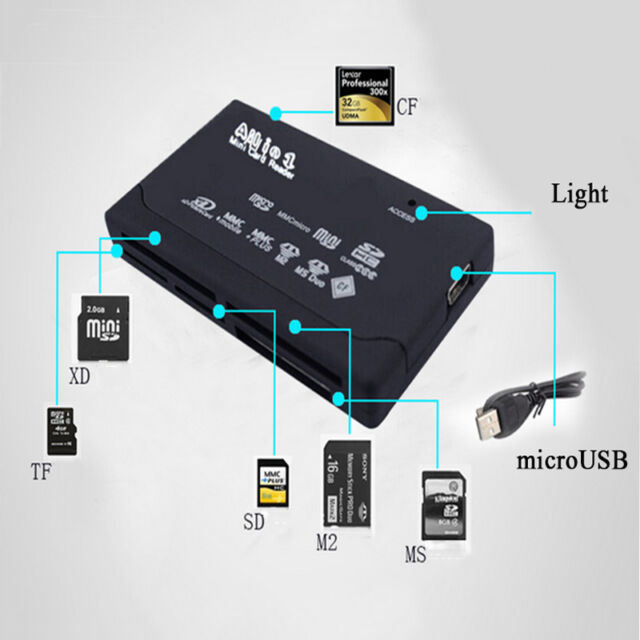 All in One USB External Memory Card Reader SD SDHC Mini Micro M2 MMC XD CF MS