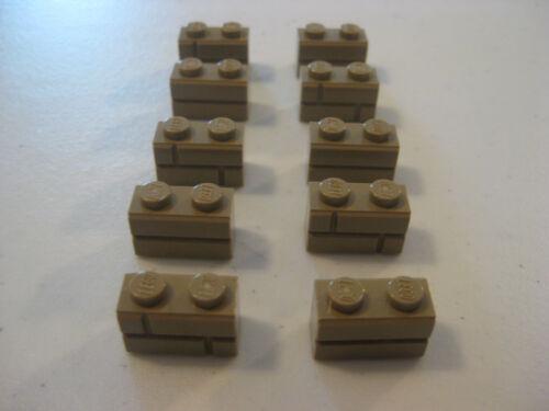 LEGO 1x2 mattoni muratura-Brick profilo Dark Tan lotto di 10 PZ