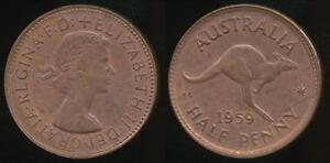 Australia-1959-Halfpenny-1-2d-Elizabeth-II-almost-Uncirculated
