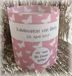 Details Zu 4 X Tischlicht Tischdeko Deko Kommunion Konfirmation Schmetterlinge Rosa