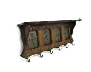 Vintage-Wood-Coat-Hat-Rack-Copper-Breughel-Style-Plaques-Mid-Century-Modern