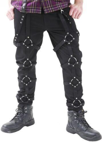 Hilo muerto para Hombre Pantalón Negro Punk Goth Redondo Círculo en pantalón