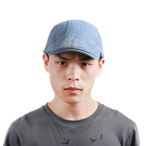 Newsboy Style Adjustable Casual Flat Cap Gatsby Hat Denim Beret Hats Sun Caps