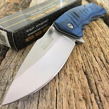 TAC-FORCE SPRING ASSISTED TACTICAL KNIFE BLUE WOOD HANDLE WITH POCKET CLIP -M