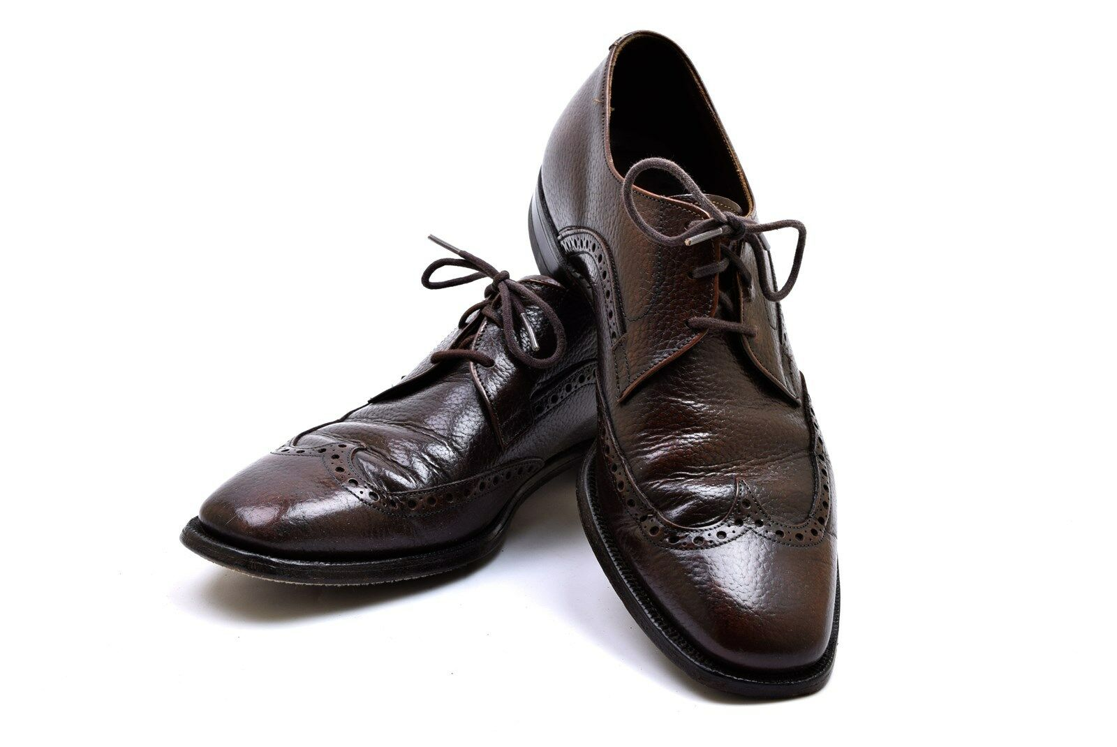 Johnston & Murphy schuhe braun Pebbled Leather Wing Tip Oxford Größe 8 D