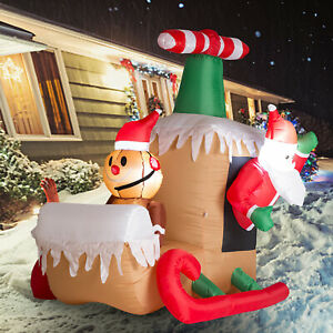 Inflatable-Santa-Claus-Sleigh-LED-Lighted-Airblown-Christmas-Yard-Decoration-NEW