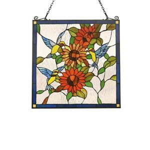 Tiffany Style Stained Glass Window Panel Hummingbirds Last One This Price Ebay