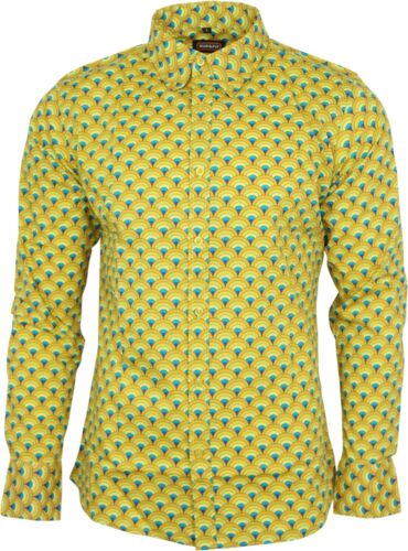 Run /& Fly Homme Peacock Print Shirt à Manches Longues 60 s 70 s geometric psychedelic