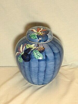 Antique Japanese Arita Blue Floral Design Porcelain Vase with Cover