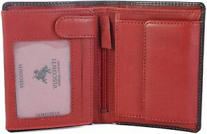 VISCONTI-LUXURY-ITALIAN-LEATHER-TORINO-GENTS-BLACK-RED-WALLET-TR34