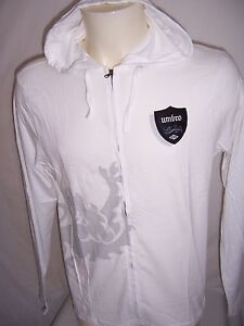 TEE-SHIRT-Sweat-zippe-a-capuche-adulte-neuf-Umbro-taille-M-ou-XL-coloris-blanc
