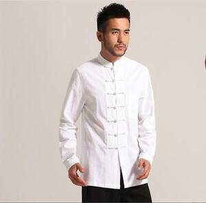 Image is loading Handsome-Chinese-men-039-s-cotton-Kung-Fu-  sc 1 st  eBay & Handsome Chinese menu0027s cotton Kung Fu shirt Tops dress shirt Sz ...