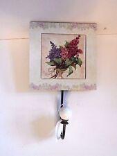 Pink Purple Lilac Flowers Wood Metal Ceramic Ball Wall Hook Spring Decoration
