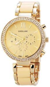 Excellanc-Damenuhr-Gold-Chrono-Look-Strass-Metall-Armbanduhr-Quarz-X150807500023