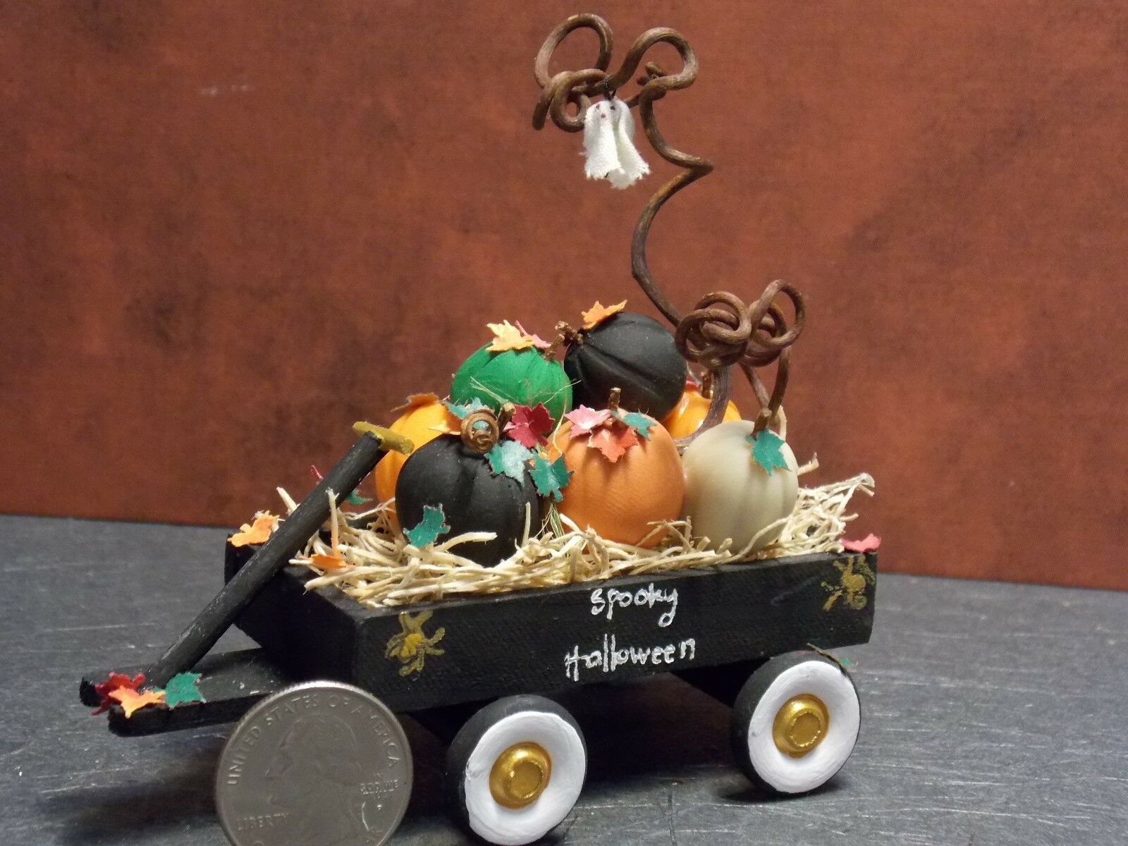 Dollhouse Miniature Halloween Pumpkin Wagon with Ghost  1:12 one inch scale G62