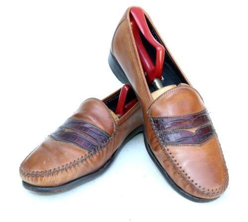 Bragano Brown Crocodile Toe Calf Leather Penny Loa