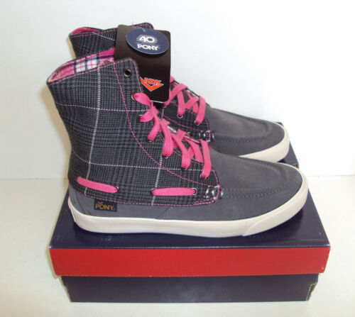 Pony Ladies Dark Grey Boat Hi Top Casual Lace Up Trainers Shoes New Size UK 3
