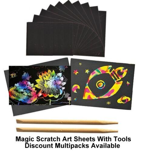 A4 Scratch Art Craft Paper Rainbow Scratch Kit Colour Art Set Engraving Paper