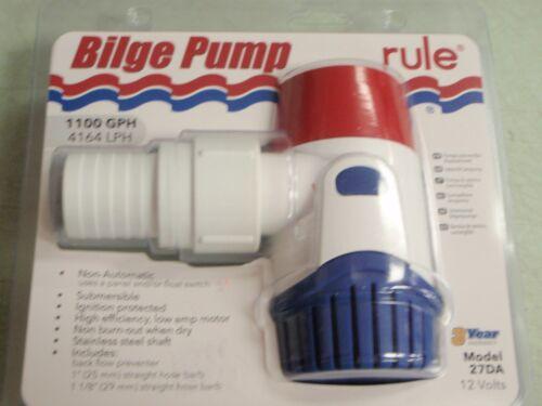 "BILGE PUMP RULE 29-27DA 1100GPH 12 VOLT 1/"" AND 1-1//8/"" HOSE BARBS MARINE BOAT"