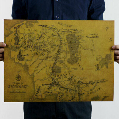Map Of Middle Earth Lord Of The Rings HD Poster Art Print Photo Cloth Poster