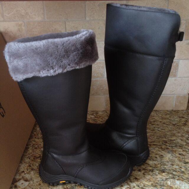 223ee8e8cdd UGG Miko Tall Black Waterproof Leather Sheepskin Rain Snow Boots US 8  Womens NEW
