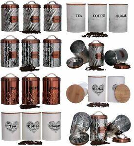 Sucre-cafe-the-cuisine-stockage-canister-pots-pots-recipients-set-air-couvercle-etanche