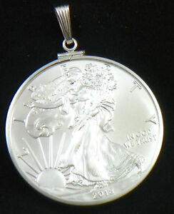 USA-Sterling-Coin-Edge-Bezel-Pendant-For-1-OZ-2018-Silver-Eagle-Walking-Liberty