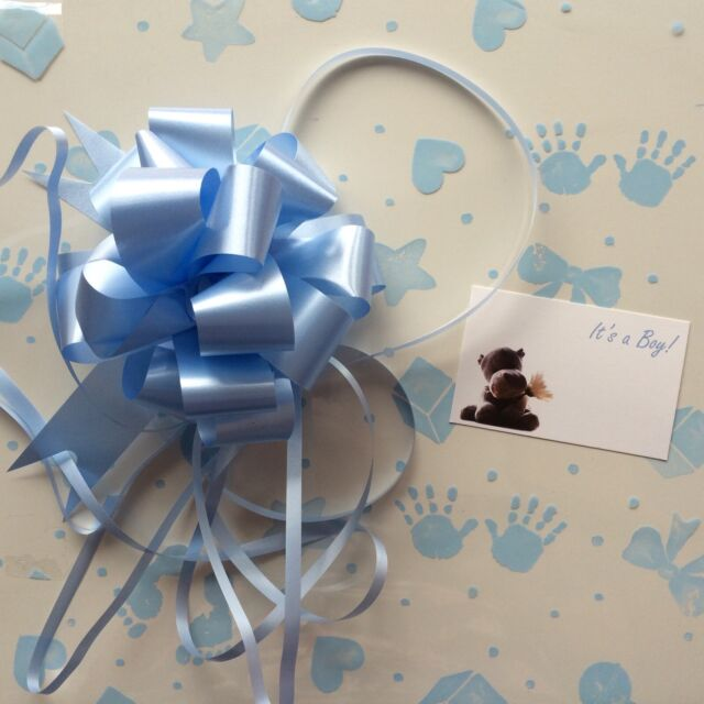 Cellophane Gift Wrap 5m X 80 Cm Blue Baby Boy 3 X Pull Bow Cards