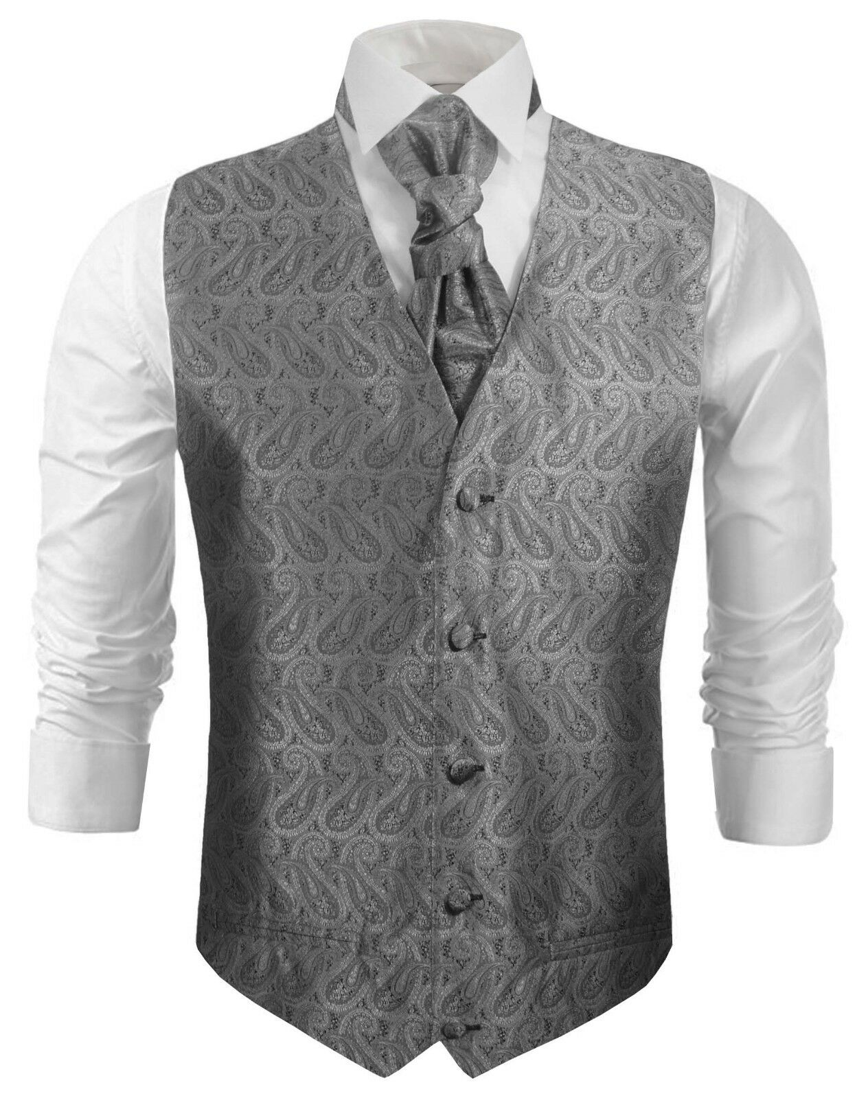 Paul Malone Hochzeitsweste mit Plastron silber grau schwarz paisley v30