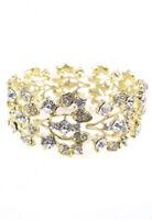 69b Gift Boxed Gold Bridal Classic Clear Crystal Rhinestone Leaf Vine Bracelet