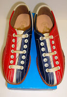 Women's Girls Size 4.5 Bowling Shoes Rh/lh Red Blue Leather Soles Free Shipping