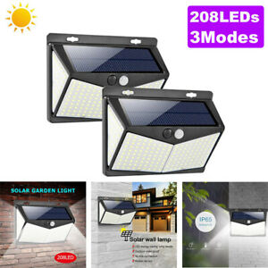 208-LED-Energia-Solare-Luce-Sensore-PIR-Giardino-Esterni-Cortile-Lampada-da-parete-ci