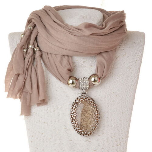 Oval Wrap Cotton Gallant Flower Crystal Resin Pendant Soft Shawl Necklace Scarf