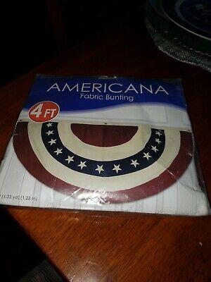 4 Dark Red//White//Dark Blue 1 Piece Pack Beistle 54990 Americana Fabric Bunting