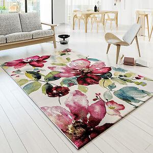 Das Bild Wird Geladen Teppich Modern Designer Teppich Bunt  Blumen Muster Design