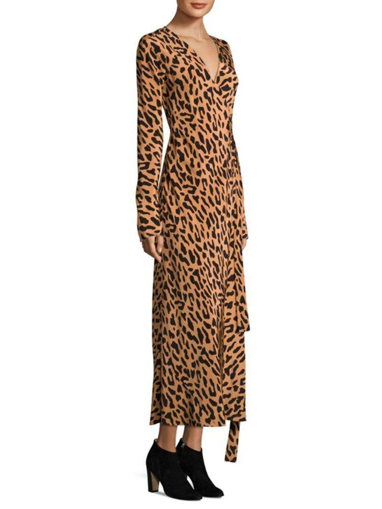 NWT Diane von Furstenberg Midi Woven Silk Wrap Dress in Belmont Camel