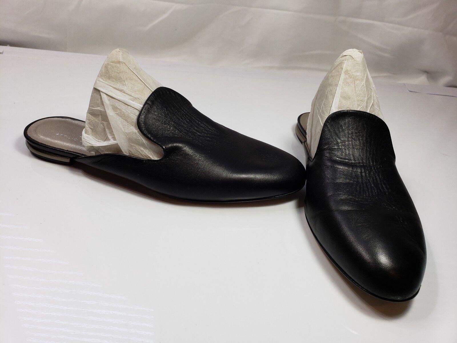 NWOB Attilio Giusti Leombruni Flat Mule Black Leather sz. Flat sz. Leather 38/US 8 MSRP $320 96c9d7