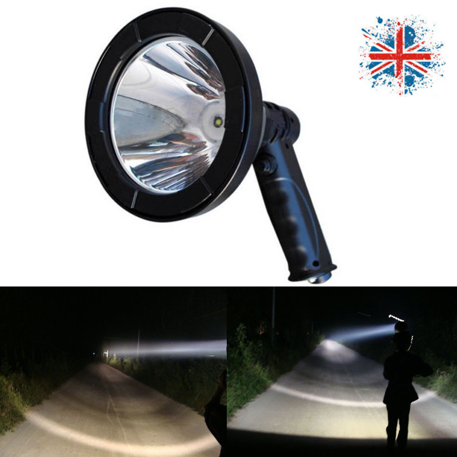 680W T6 LED Handheld Spotlight Fishing Hunting Light High Power+Built-in Battery