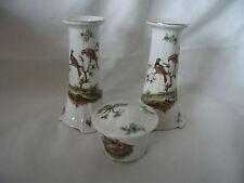 Bargain Pair of Union K Porcelain Candlesticks and Lidded Trinket Pot Ref 1176