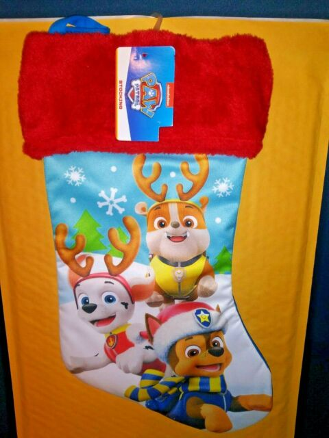 Paw Patrol Red Blue Christmas Stocking With Marshal Chase