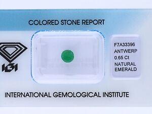 natuerlicher-0-65-Karat-Smaragd-Rund-green-IGI-Expertise