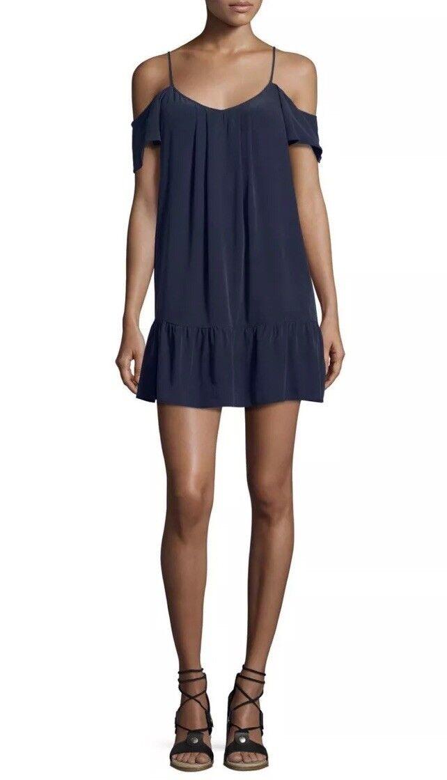 Joie Stellara Cold-Shoulder Flounce Silk Mini Dress Caviar XS  NWT