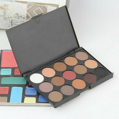 Professional 15 Colors Warm Nude Matte Shimmer Eyeshadow Palette Cosmetic EW