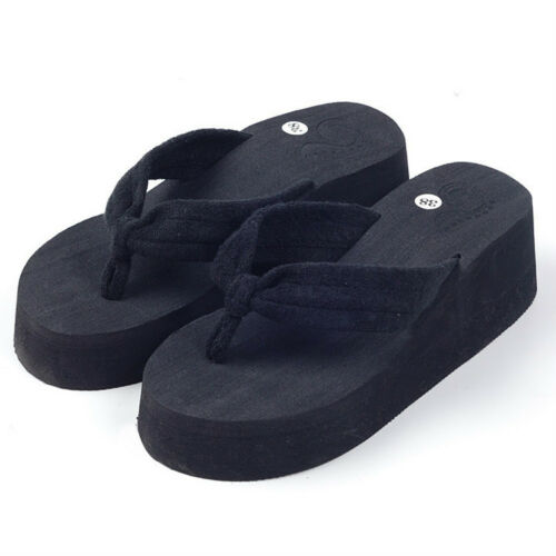 Nouvelle arrivée Femme Tongs Filles Pantoufles compensées plateforme talons Plage Chaussure