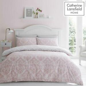 Catherine Lansfield Damask Blush Duvet Covers Pink Grey Quilt Cover Bedding Sets