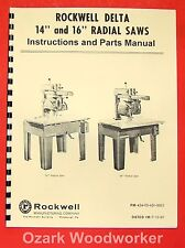 Rockwell 14 Amp 16 Radial Arm Saw Parts Manual 0594