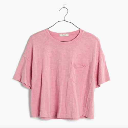 Madewell Garment Dyed Pocket Tee Pink Small