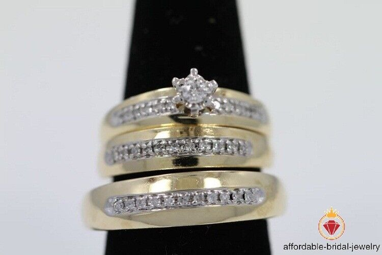 D VVS1 Round Cut Diamond Yellow gold Finish Bridal Engagement Trio Ring Set
